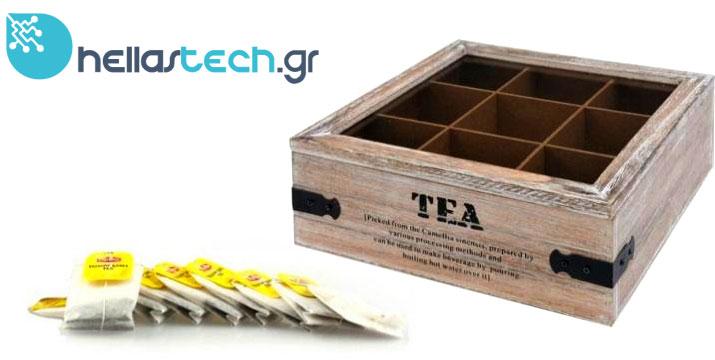 9,99€ από 25€ (-60%) για ένα Ξύλινο Vintage Πρακτικό Κουτί αποθήκευσης για φακελάκια τσαγιού Tea box με 9 θέσεις και διάφανο καπάκι 24x24x9cm, με δυνατότητα παραλαβής από το κατάστημα ή πανελλαδικής αποστολής από την Hellas Tech στο Περιστέρι. εικόνα