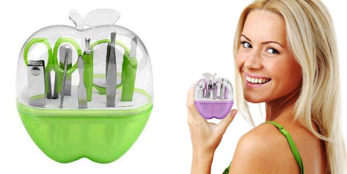 Σετ 7 Εργαλείων Περιποίησης που περιλαμβάνει εργαλεία για manicure, τσιμπιδάκι φρυδιών και καθρεπτάκι σε θήκη σχήματος μήλου εικόνα