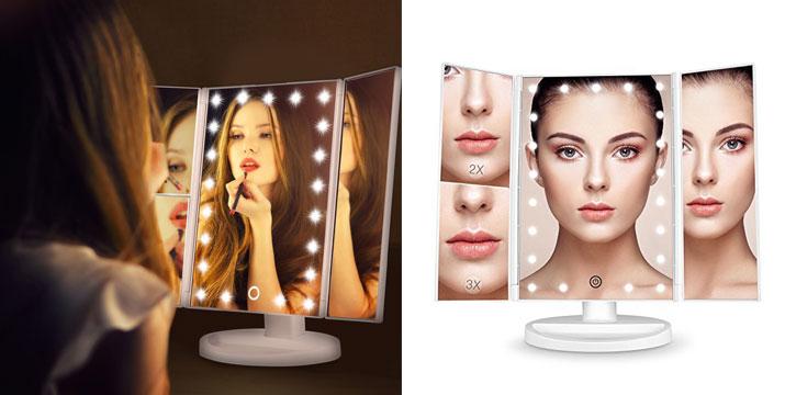 """19,90€ από 28,90€ για έναν Τριπλό Καθρέφτη Ομορφιάς με Μεγέθυνση και Φωτισμό 22 LED, με παραλαβή ή δυνατότητα πανελλαδικής αποστολής στο χώρο σας από το """"Idea Hellas"""" στη Νέα Ιωνία. εικόνα"""