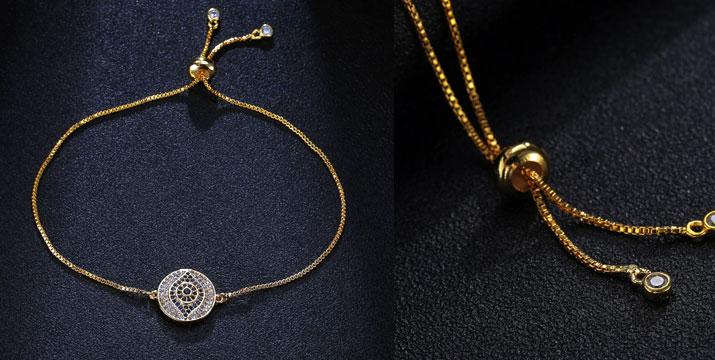 9,90€ από 24,90€ (-60%) για ένα Βραχιόλι επιχρυσωμένο σε κίτρινο χρυσό και Σχέδιο Μάτι με λαμπερές πολύχρωμες πέτρες ζιργκόν, με ΔΩΡΕΑΝ πανελλαδική αποστολή στο χώρο σας από την Absolute Diamond.