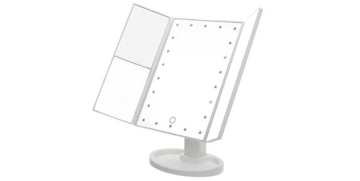 """19,90€ από 28,90€ για έναν Τριπλό Καθρέφτη Ομορφιάς με Μεγέθυνση και Φωτισμό 22 LED,  με παραλαβή ή δυνατότητα πανελλαδικής αποστολής στο χώρο σας από το """"Idea Hellas"""" στη Νέα Ιωνία."""