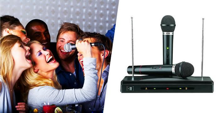 """25€ για μία  Συσκευή Καραόκε με 2 Ασύρματα Μικρόφωνα, που συνδέεται πανεύκολα με οποιαδήποτε σύστημα που διαθέτει είσοδο ήχου (τηλεόραση, στερεοφωνικό κ.λπ), και την μετατρέπει σε διασκεδαστικό σύστημα καραόκε, με πανεύκολη εγκατάσταση & ασύρματη ποιότητα μετάδοσης, με παραλαβή ή δυνατότητα πανελλαδικής αποστολής στο χώρο σας από το """"Idea Hellas"""" στη Νέα Ιωνία!"""