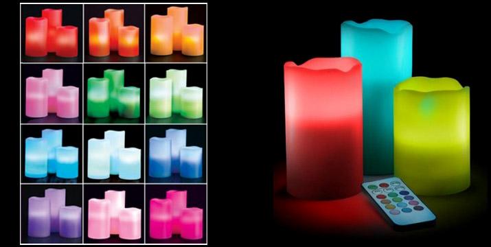 11,50€ από 25€ (-54%) για ένα Σετ με 3 LED Κεριά με 12 επιλογές χρωμάτων, τηλεχειριστήριο και άρωμα βανίλιας, χρονοδιακόπτη και αυτόματη απενεργοποίηση, κατασκευασμένα από πραγματικό κερί παραφίνης που αντί για φιτίλι διαθέτουν led λάμπες που διαρκούν 100.000 ώρες,  με παραλαβή από την Idea Hellas και δυνατότητα πανελλαδικής αποστολής στο χώρο σας.
