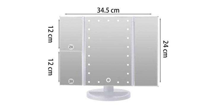 """16,90€ από 28,90€ για έναν Τριπλό Καθρέφτη Ομορφιάς με Μεγέθυνση και Φωτισμό 22 LED,  με παραλαβή ή δυνατότητα πανελλαδικής αποστολής στο χώρο σας από το """"Idea Hellas"""" στη Νέα Ιωνία."""