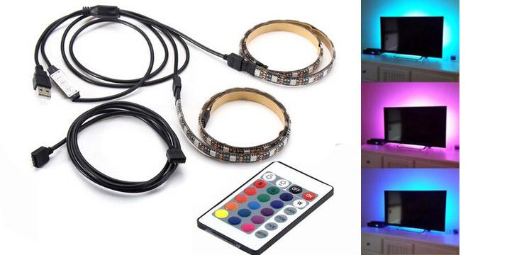"""12,90€ από 18,90€ για μια Αδιάβροχη Ταινία Led RGB για TV με USB 2x50cm με δυνατότητα αλλαγής χρώματος, με παραλαβή ή δυνατότητα πανελλαδικής αποστολής στο χώρο σας από το """"Idea Hellas"""" στη Νέα Ιωνία."""