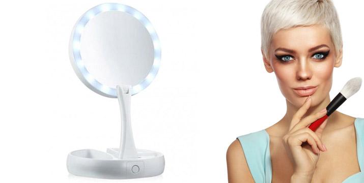 """6,90€ από 12,90€ για έναν Διπλό Μεγεθυντικό Αναδιπλούμενο Καθρέφτη με Φωτισμό LED, με παραλαβή ή δυνατότητα πανελλαδικής αποστολής στο χώρο σας από το """"Idea Hellas"""" στη Νέα Ιωνία."""
