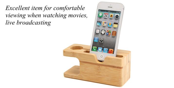 """9,90€ από 17,90€ για μια Ξύλινη Βάση από Bamboo για Apple Watch & I phone, με παραλαβή ή δυνατότητα πανελλαδικής αποστολής στο χώρο σας από το """"Idea Hellas"""" στη Νέα Ιωνία."""