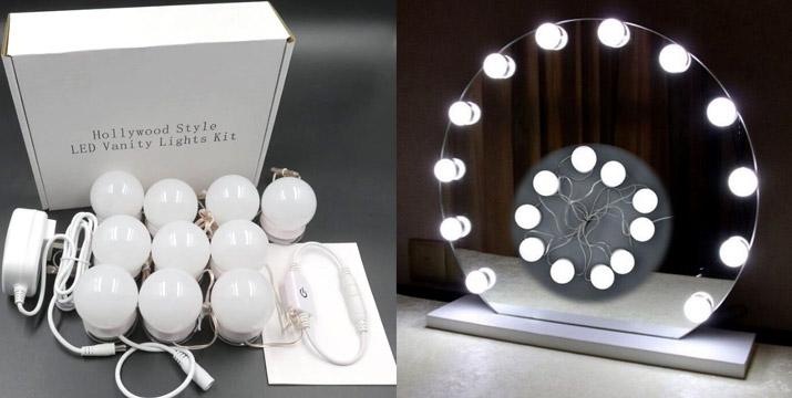"""16,90€ από 29,90€ για έναν Αυτοκόλλητο Usb Led Φωτισμό Καθρέπτη με 10 λάμπες, με παραλαβή ή δυνατότητα πανελλαδικής αποστολής στο χώρο σας από το """"Idea Hellas"""" στη Νέα Ιωνία."""