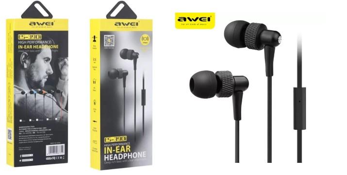 """4,90€ από 9,90€ (-50%) για Ακουστικά Handsfree In-Ear Awei ES-390i Jack-3.5mm – Μαύρο, με παραλαβή ή δυνατότητα πανελλαδικής αποστολής στο χώρο σας από το """"Idea Hellas"""" στη Νέα Ιωνία."""