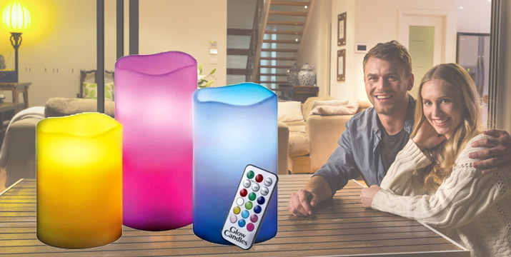 9,50€ από 19.90€ (-52%) για ένα Σετ με 3 LED Κεριά με 12 επιλογές χρωμάτων, τηλεχειριστήριο και άρωμα βανίλιας, χρονοδιακόπτη και αυτόματη απενεργοποίηση, κατασκευασμένα από πραγματικό κερί παραφίνης που αντί για φιτίλι διαθέτουν led λάμπες που διαρκούν 100.000 ώρες, με παραλαβή από την Idea Hellas και δυνατότητα πανελλαδικής αποστολής στο χώρο σας.
